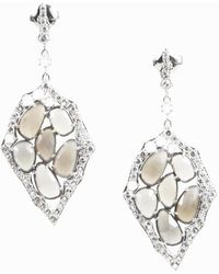 Unbranded - Moonstone Diamond & Sterling Silver Asymmetrical Earrings - Lyst