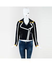 Fendi - Blue Yellow & White Zipped Motorcycle Jacket - Lyst