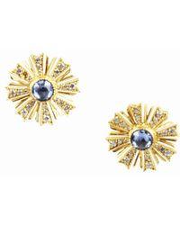 Arman Sarkisyan - Blue Sapphire Diamond & 22 Karat Yellow Gold Sunburst Earrings - Lyst