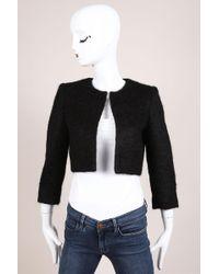 Giambattista Valli - Black Wool Blend Fuzzy Cropped Jacket - Lyst