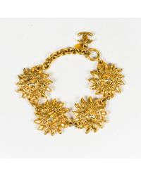 Chanel - Gold Tone Metal Lion Head Sunburst Chain Link Bracelet - Lyst