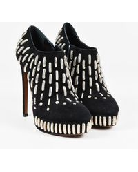 Alaïa - Black Silver Suede Leather Link Embellished Heeled Ankle Booties Sz 36 - Lyst