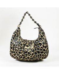 "Fendi - Black & Beige Leopard Print Satin ""mia"" Hobo Bag - Lyst"