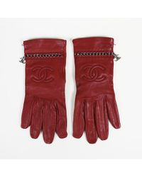 Chanel Leather Cc Chainlink Gloves