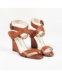 Manolo Blahnik - Brown Leather Open Toe Wedge Heel Sandals - Lyst