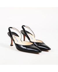 "Manolo Blahnik - Black Leather ""carolyne"" Pointed Slingback Court Shoes - Lyst"