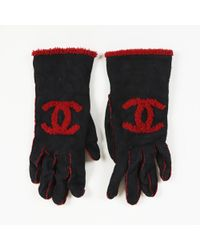 Chanel - Suede Shearling 'cc' Embroidered Gloves - Lyst