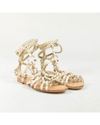 "Balmain - ""sable"" Beige Leather Studded ""lawrence"" Gladiator Sandals - Lyst"