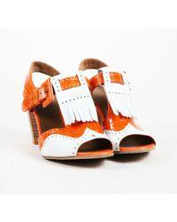 Hermès - Orange Crocodile Skin & Leather Buckled Brogue Slingback Sandals - Lyst