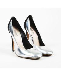 Giambattista Valli - Metallic Silver Leather & Black Satin Pumps - Lyst