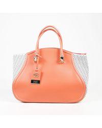 "Class Roberto Cavalli - Orange & White Leather ""large Spring Daphne"" Tote - Lyst"