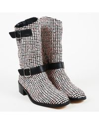 Chanel - Cruise 2016 Black Multicolor Tweed & Leather Trim Mid Calf Boots - Lyst