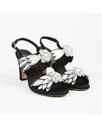 "Chanel - ""camellia"" Silver Black Leather Slingback Sandals - Lyst"