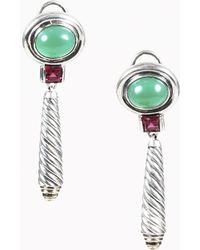David Yurman - Sterling Silver 14k Gold Tourmaline & Green Onyx Drop Earrings - Lyst