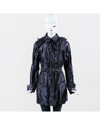 Burberry Brit - Metallic Blue Cotton Blend Belted Trench Coat - Lyst