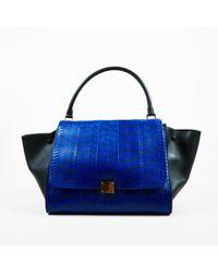 """Céline - Blue & Black Python Suede & Leather Top Handle Large """"trapeze"""" Bag - Lyst"""