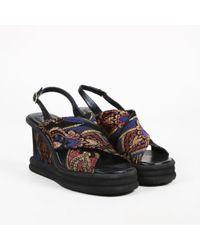 Dries Van Noten - Multicolour Jacquard & Leather Wedge Sandals - Lyst