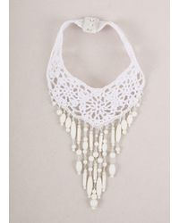 Jean Paul Gaultier | New With Tags White Crochet Knit Beaded Statement Chocker Necklace | Lyst