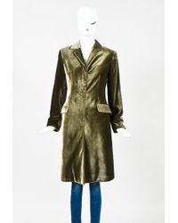 Etro - Green Velvet Long Single Breasted Jacket - Lyst