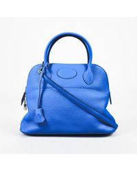 "Hermès - Nib ""hydra"" Blue Clemence Leather Top Handle ""bolide"" 31cm Satchel Bag - Lyst"