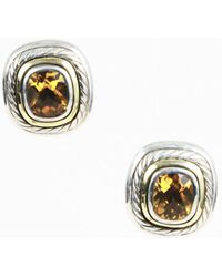 David Yurman - Citrine 14k Yellow Gold & Sterling Silver Clip On Cable Earrings - Lyst