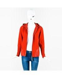 Bottega Veneta - Red Wool Leather Trim Zip Up Hooded Ls Sweater - Lyst