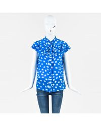 Gianfranco Ferré - Blue White Silk Printed Bow Cap Sleeve Button Up Blouse - Lyst