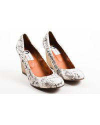 Lanvin - Cream Black Snakeskin Wooden Wedge Heel Ballerina Court Shoes - Lyst