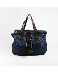 Dries Van Noten - Blue & Brown Nylon & Leather Quilted Top Handle Tote Bag - Lyst