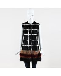 Giambattista Valli - Black Multicolor Pony Hair & Fox Fur Windowpane Long Vest - Lyst