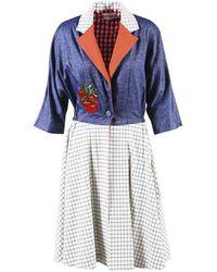 Rahul Mishra - Blue Multicolor Cotton Blend Gingham Tomato Dress - Lyst