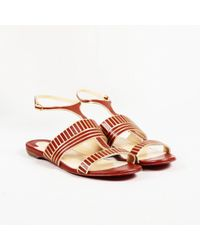 "Christian Louboutin - ""very Sekmet"" Leather T-strap Sandals - Lyst"