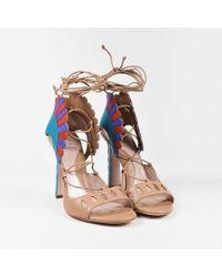 "Paula Cademartori - Beige Multicolor Leather Lace Up ""lotus"" Sandals - Lyst"