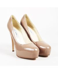 Brian Atwood - Nude Patent Leather Platform Pumps - Lyst
