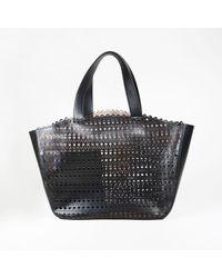 Alaïa - Black Laser Cut Leather Tote - Lyst