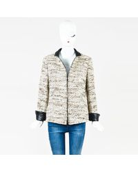 Akris Punto - White & Brown Wool Blend Zipped Jacket - Lyst