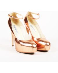 Brian Atwood - Metallic Rose Gold Leather Platform Court Shoes - Lyst