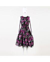 Carmen Marc Valvo - Floral Print Tulle Pleated Knee Length Dress - Lyst