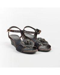 Chanel - Brown & Black Suede & Mesh T Strap Sandals - Lyst