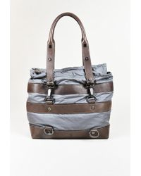 Moncler | Grey & Brown Nylon & Leather Top Handle Tote Bag | Lyst