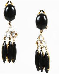 Bounkit - Onyx Cabochon & Clear Quartz Clip On Drop Earrings - Lyst