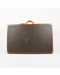 Louis Vuitton - Vintage Brown Coated Canvas Leather Bisten 80 Hard Sided Suitcase - Lyst