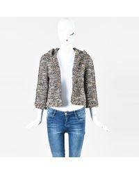 Chanel - 07a Multicolour Wool Blend Tweed Metallic Hooded Zip Up Jacket - Lyst