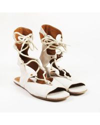 Chloé - Beige Suede Open Toe Lace Up Gladiator Sandals - Lyst