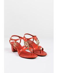 Chanel   Red Patent Leather Chain Link Strappy Block Heel Sandals   Lyst