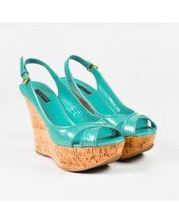 Louis Vuitton - Blue Vernis Leather Embossed Monogram Cork Wedge Sandals Sz 38.5 - Lyst