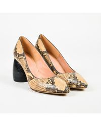059e870351a2eb Dries Van Noten - Beige   Brown Leather Embossed Heel Almond Toe Pumps -  Lyst