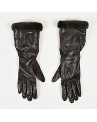 Chanel - Brown Leather & Green Fur Trim 'cc' Gloves - Lyst