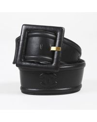 Chanel - Vintage Spring 1993 Black Leather Wide Belt - Lyst