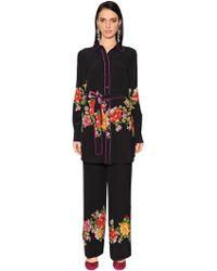 Etro - Floral Printed Silk Crepe De Chine Tunic - Lyst